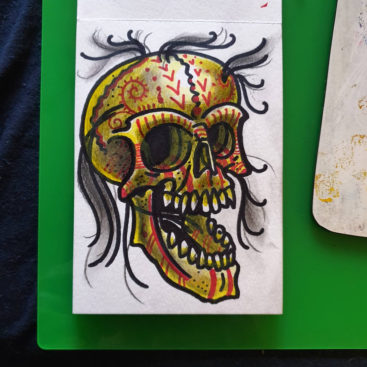 Todays effort, mixed medium postcard sized. Great fun, as always will be available to be tattooed if/when!! Thanks for looking if anyone likes what they see u can buy any of these A6 originals posted for £15 just drop me a msg - any support is greatly appreciated however i onow EVERYONE is skint.... skull skullpainting skulltatoo tribalskulls tattoodesign tattooart tattooflash drphmartins watercolour painting painteveryday draweveryday keepingbusy scottishtattooer scotland studioxiiigallery studioxiii tattoosbyalanross alrosstattoo edinburgh
