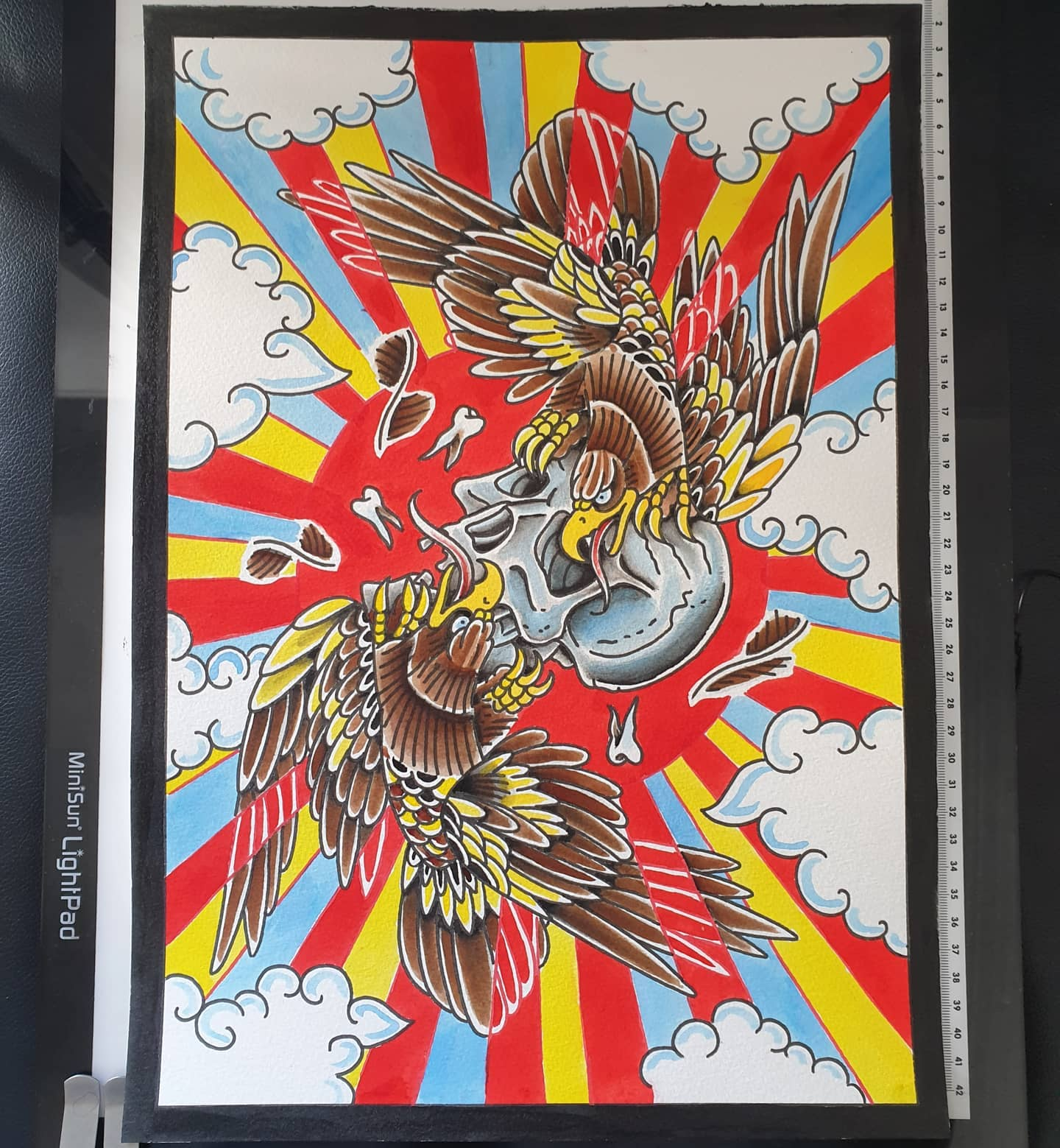 New painting a3, will hopefully be available as prints SOON! This woild make a sick front/backpiece, just saying🙄🤣 Hope everyone is hanging in there, we&039;re enjoying the sun from inside as we have no garden ️️️...thanks for looking eagle traditionaleagle goldeneagle tattooart tattoodesign tradeagle traditionaltattoos tradtattoos tattooflash tattoodesigns skull eagleandskull trad painteveryday draweveryday art artist lockdownart lockdown tattoos scottishtattooist scotland scottishtattooer edinburgh studioxiiigallery studioxiii tattoosbyalanross alrosstattoo
