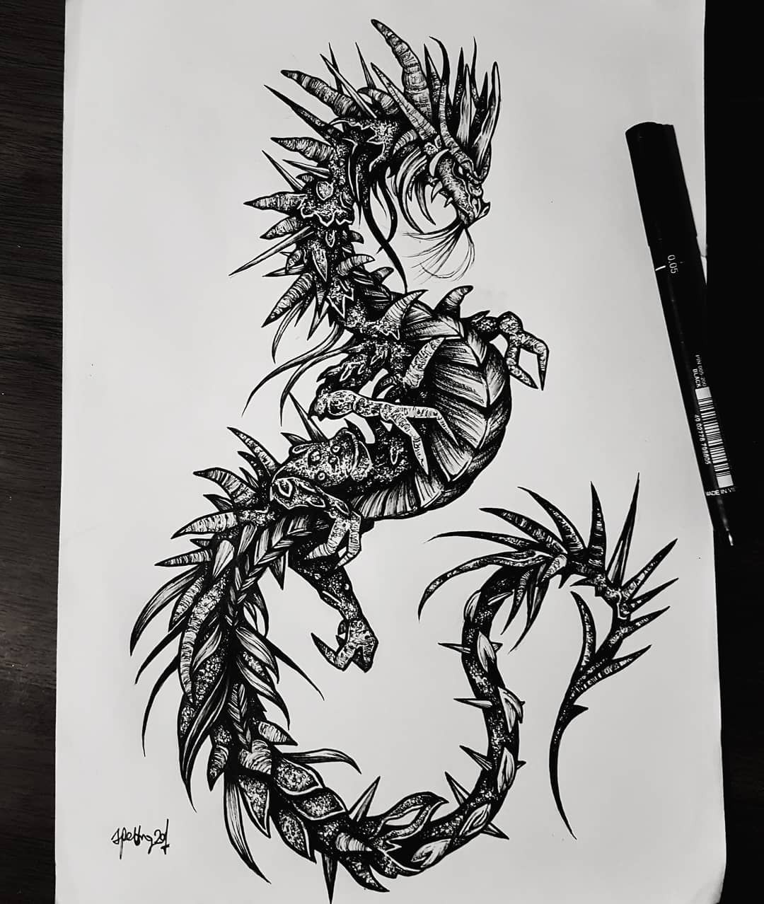 """From Scottish Folklore: The Beithir. It is described as """"the largest and most deadly kind of serpent""""or as a dragon (but without certain typical draconic features such as wings or fiery breath). It dwells in mountainous caves andglens and is equipped with a venomous sting. If a person is stung then they must head for the nearest body of water such as a river orloch. If they can reach it before the beithir does then they are cured, but if the monster reaches it first then the victim is doomed. The beithir is considered one of thefuath (a term for the various monsters and spirits associated with water). Design also available, email goatskullshirley@gmail.com for details 🦇🦇🦇 . . . . . . occultarcana artesobscurae btattooing flashworkers blackwork blackworkers blxckink darkartists darkart darkarts thedarkestwork onlyblackart onlythedarkest stabmegod blacktattoo metalhead blackmetal occult blxckink witchythings darkartistries edinburgh goth gothic studioxiii dragon mythology @artesobscurae @occultarcana @thedarkestwork @onlythedarkest @black_tattoo_culture @darkartists @wiccac @stabmegod"""