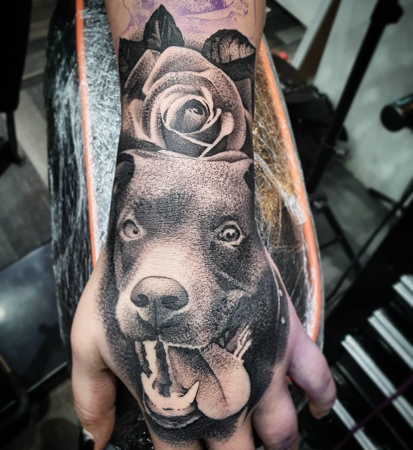 This cheeky gal  _____________________ tattoo dogtattoo dogportrait pet artdriven stencilstuff edinburghtattooartist studioxiii silverbackink btattooing onlythedarkest tattooartist tattooartistuk edinburgh ink tattoos inked tattooed picoftheday art love pic photooftheday photo blackandgrey blackngrey instagram artist design tattooer