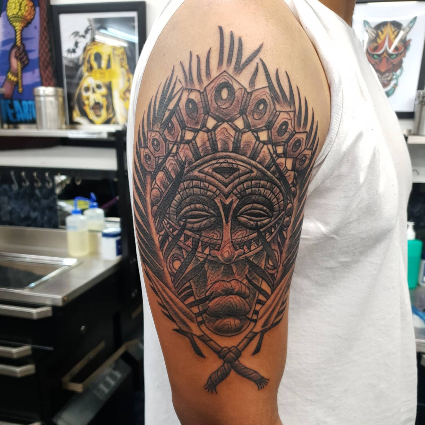 Great time with this africanmask inspired design for Joseph&039;s first tattoo- bossed it thank you mate made @studioxiiigallery tribalmask tribalmasktattoo africanmasktattoo sudaneseheritage sudan traditionaltattooing tradtattoos ferntattoo traditionalblackandgrey woodeffect mask masktattoo tattoos traditionaltattoos firsttattoo boldwillhold bright_and_bold btattooing culture cleantattooing scottishtattooer edinburghtattooer edinburgh scotland tattoosbyalanross alrosstattoo studioxiiigallery studioxiii