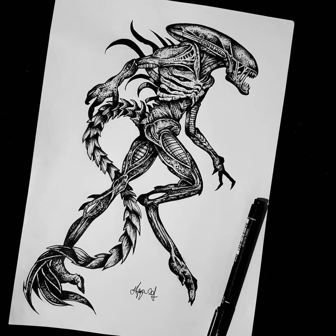 Xenomorph design available  Email goatskullshirley@gmail.com for booking details! 🖤 . . . . . . . . . blackwork occultarcana artesobscurae blackworkers thedarkestwork darkartists edinburgh studioxiii xenomorph horrorart occult tattoos btattooing blackmetal metalhead goth blacktattoo tattoo instatattoo macabre @artesobscurae @occultarcana @thedarkestwork @onlythedarkest @black_tattoo_culture @darkartists