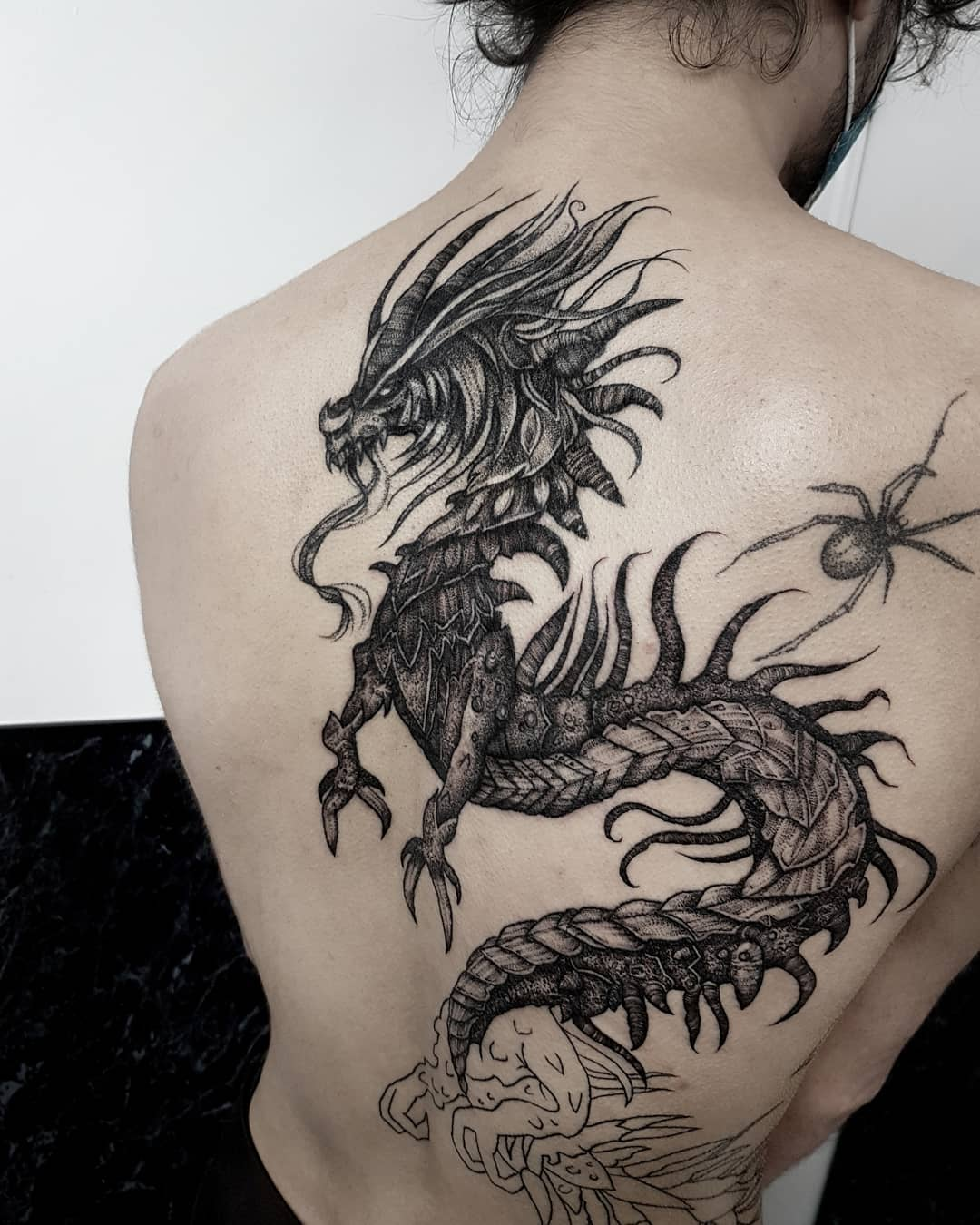 Dragons  wip with the lovely John,  the tail wraps around his stomach which will be the next session  get in touch with your dark ideas (more dragons!) at goatskullshirley@gmail.com . . . . . . . occultarcana artesobscurae btattooing blackwork blackworkers blxckink darkartists darkart darkarts thedarkestwork onlyblackart onlythedarkest blacktattoos blacktattoo metalhead blackmetal occult wiccac witchythings dragon mythology macabre darkartistries edinburgh goth gothic studioxiii @artesobscurae @occultarcana @thedarkestwork @onlythedarkest @black_tattoo_culture @darkartists @wiccac