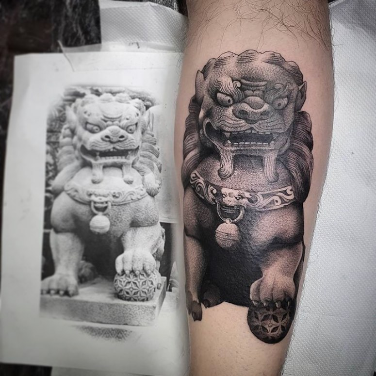 Cool Foo Dog from jnelson.art   Incase you missed it, James's books are open again so if you want to get tattooed get in touch via the booking enquiry form on our website! 😎  ____________________________________                                  barber_dts easytattoo_uk eternalink dynamiccolor totaltattoo stencilstuff