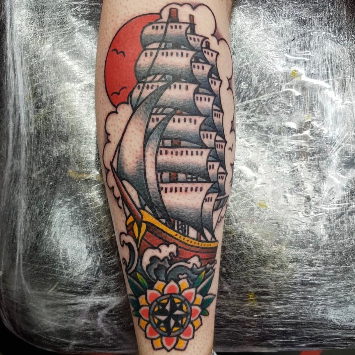 tattoosbyalanross sailing straight into your dms with this beauty from the other day ⛵️For all enquiries for Alan, please contact reception or him directly 💚 - -           totaltattoo