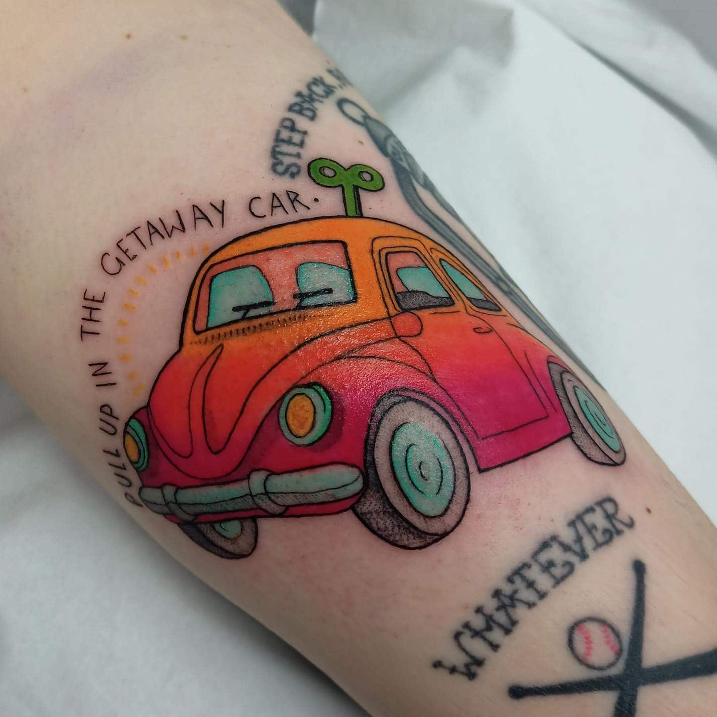 Resident kalipsotattoo is always happy to fulfil your colour needs - she would love to do some more colourful ones like this lil windup car 🚗🌈💫  We are currently closed due to the lockdown - but if you want some new tattoos from Kali next year, get in touch with the reception team using the tattoo enquiry form on our website or direct message Kali on Instagram ✨  📩 - link in the bio 📲 kalipsotattoo                                  totaltattoo barber_dts easytattoo_uk eternalink dynamiccolor lockdownneedle stencilstuff