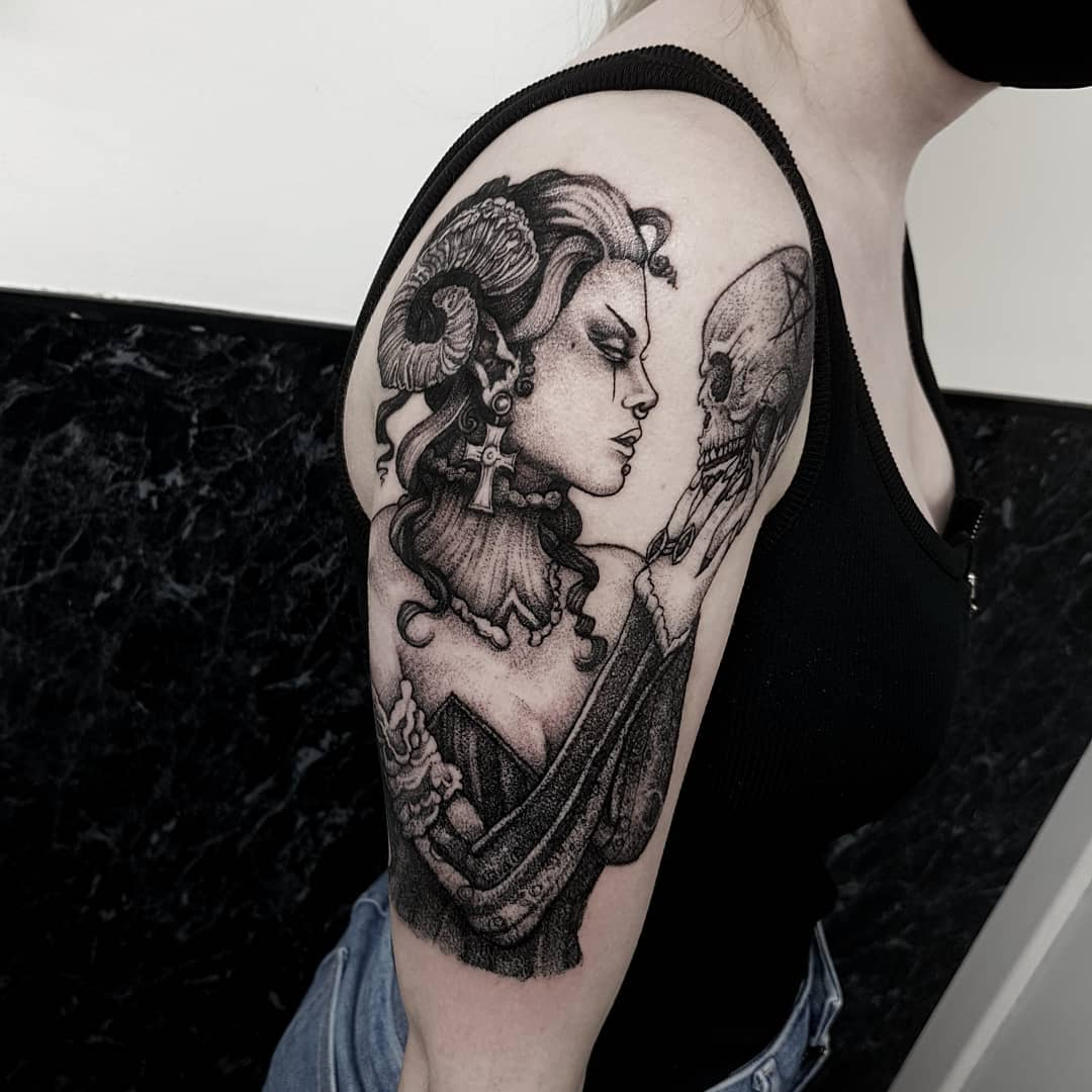 The Demoness 💀 Thanks Melissa, looking forward to our next addition to this spooky sleeve 🖤 I'm having trouble with Gmail at the moment, if you haven't had a reply the last few days I'll be with you as soon as I can! 🖤 email goatskullshirleygmail.com with your ideas . . . . . . . .                         artesobscurae occultarcana thedarkestwork onlythedarkest black_tattoo_culture darkartists wiccac