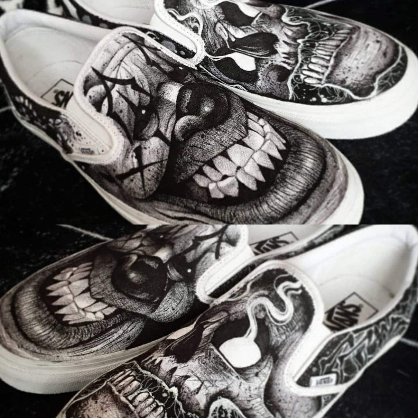 How sick are these hand painted Vans by our resident jnelson.art 🤯💫  We are currently closed due to the lockdown - but if you want to get tattooed by James, get in touch with the reception team using the tattoo enquiry form on our website✨  📩 - link in the bio 📲 jnelson.art                               totaltattoo barber_dts easytattoo_uk eternalink dynamiccolor lockdownneedle stencilstuff