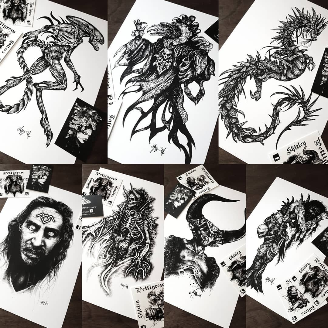 Shirleypettigrew.bigcartel.com update 🦇 🖤🦇 new prints have arrived! Link is in my bio. Includes the Scottish horror folk tales 'The Beithir', 'Brollachan' and 'Sawney Bean', the Xenomorph, Bob from Twin Peaks, the Lord of Darkness and the Chamberlain from the Dark Crystal. Plus I've restocked all previous prints, with plenty more Scottish folk tales, Lord of the Rings and Macabre Creature prints available! Go and have a wee browse! 💪🤘💀 . . . . . .                          artesobscurae occultarcana thedarkestwork onlythedarkest black_tattoo_culture darkartists wiccac darkartistries