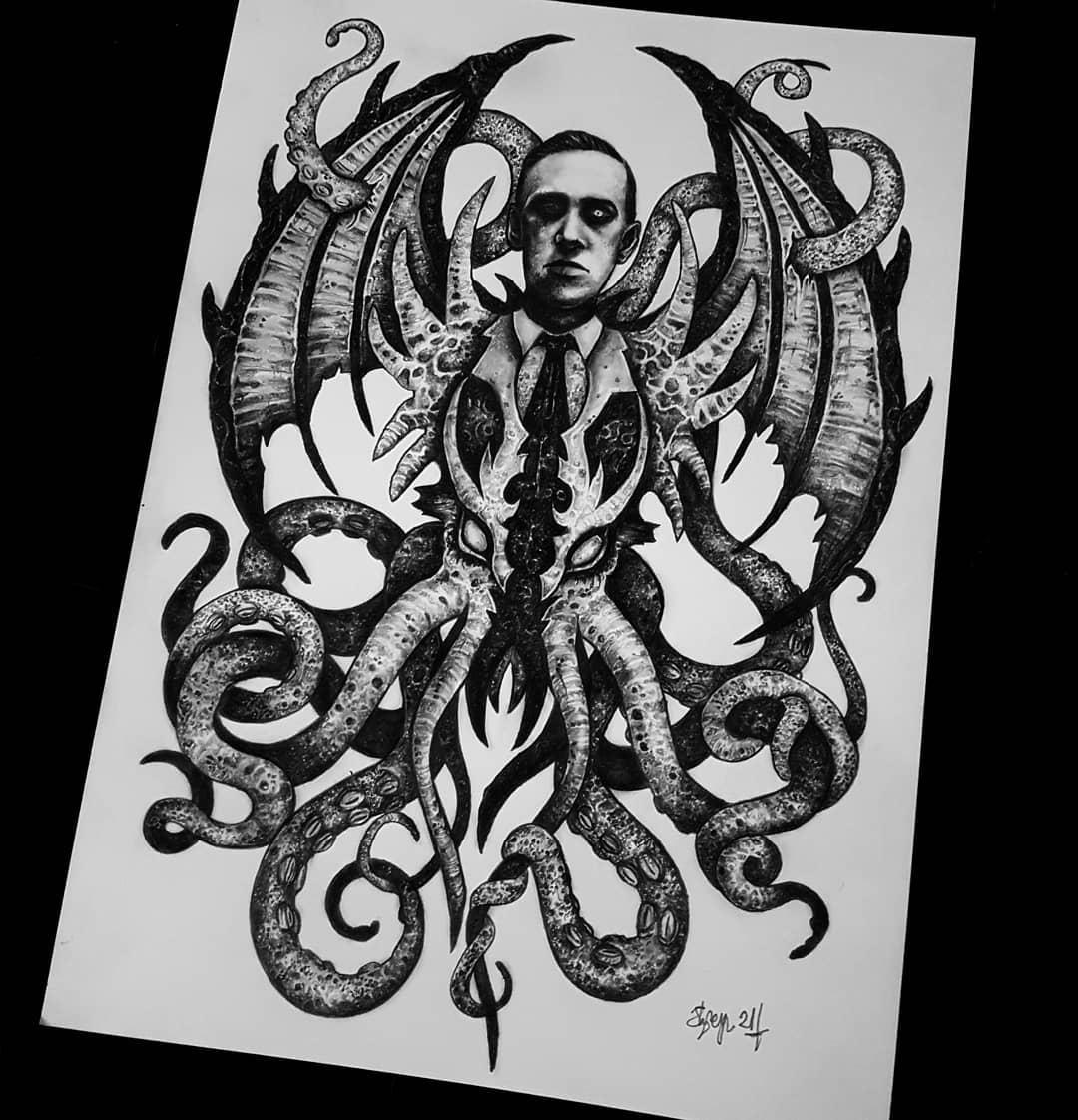 Lovecraft portrait 💀💀 after a few weeks of lockdown brain/art block, it feels amazing to draw again 🖤💪 . . . . . . . . . .                          artesobscurae occultarcana thedarkestwork onlythedarkest black_tattoo_culture darkartists wiccac