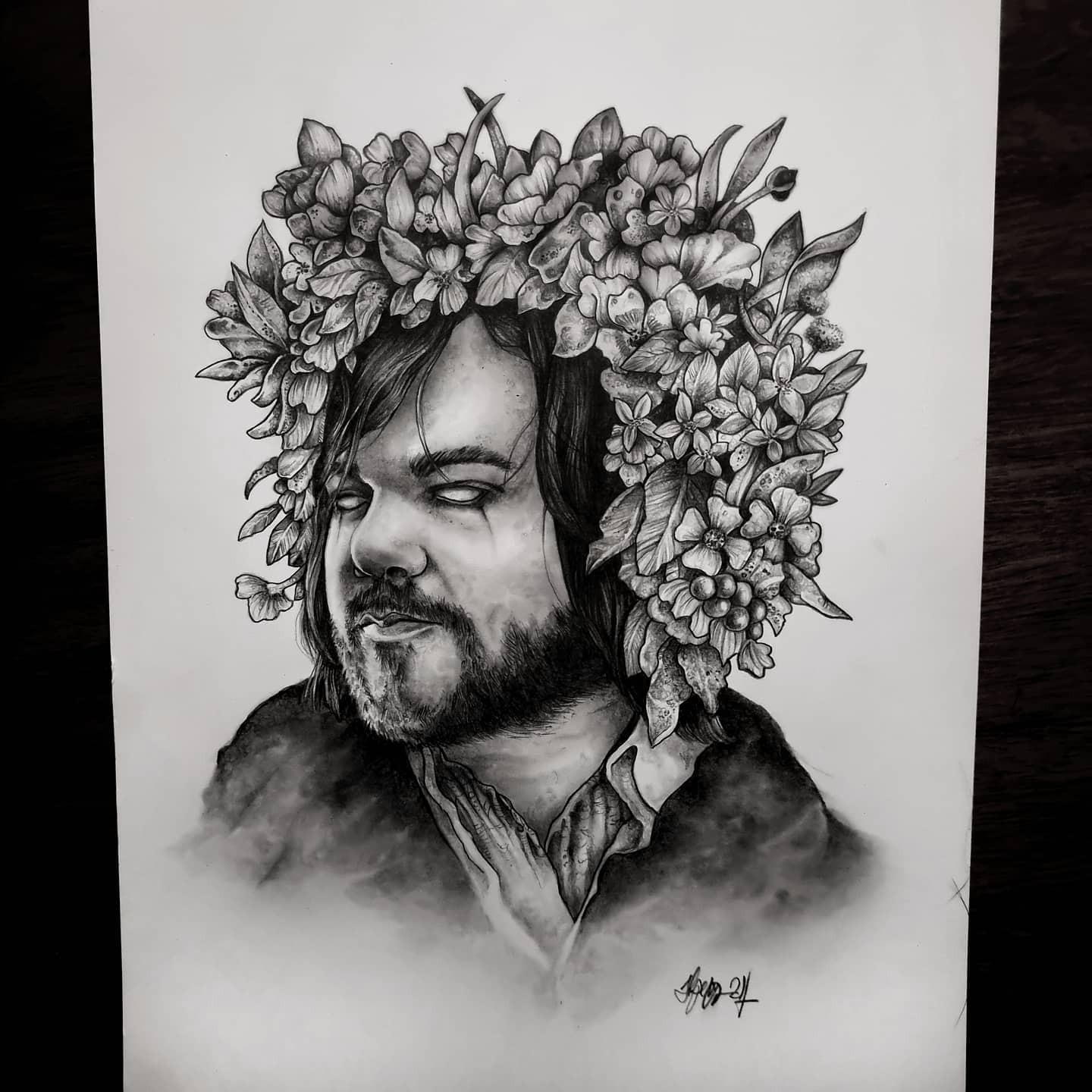'Toast of Midsommar'. Combing two of my favourite things, weird cult film and Matt Berry! 💪🖤 It's been weeks since I've been able to draw anything, this was cathartic to say the least! 💀💀💀 . . . . . . . .                        thedarkestwork onlythedarkest darkartists blxckink blacktattoomag wiccac darkartistries