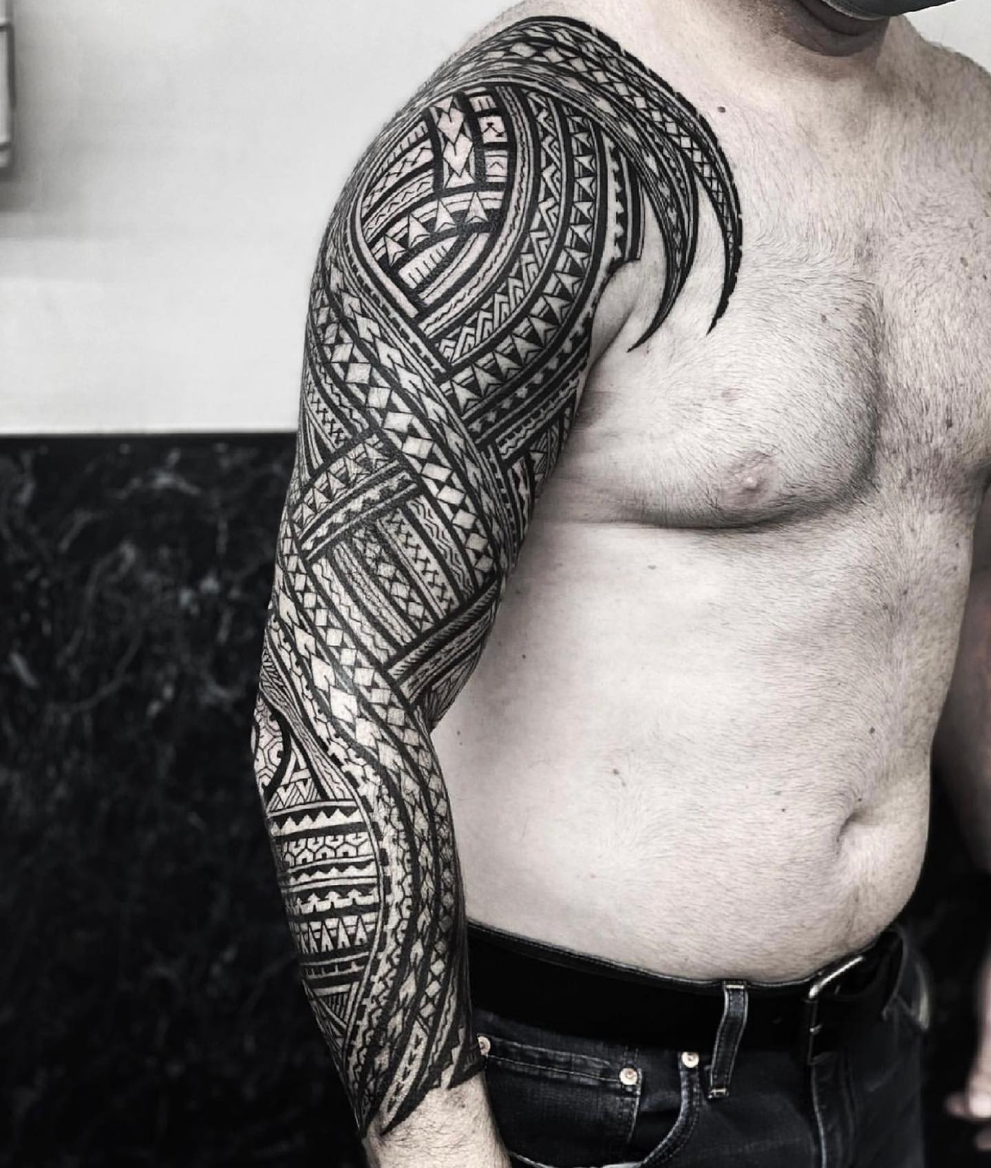 Cool sleeve by marcdiamondtattoo ✨  If you would like to get tattooed, then please fill out the tattoo enquiry form on our website 💫                           totaltattoo barber_dts easytattoo_uk eternalink dynamiccolor lockdownneedle stencilstuff